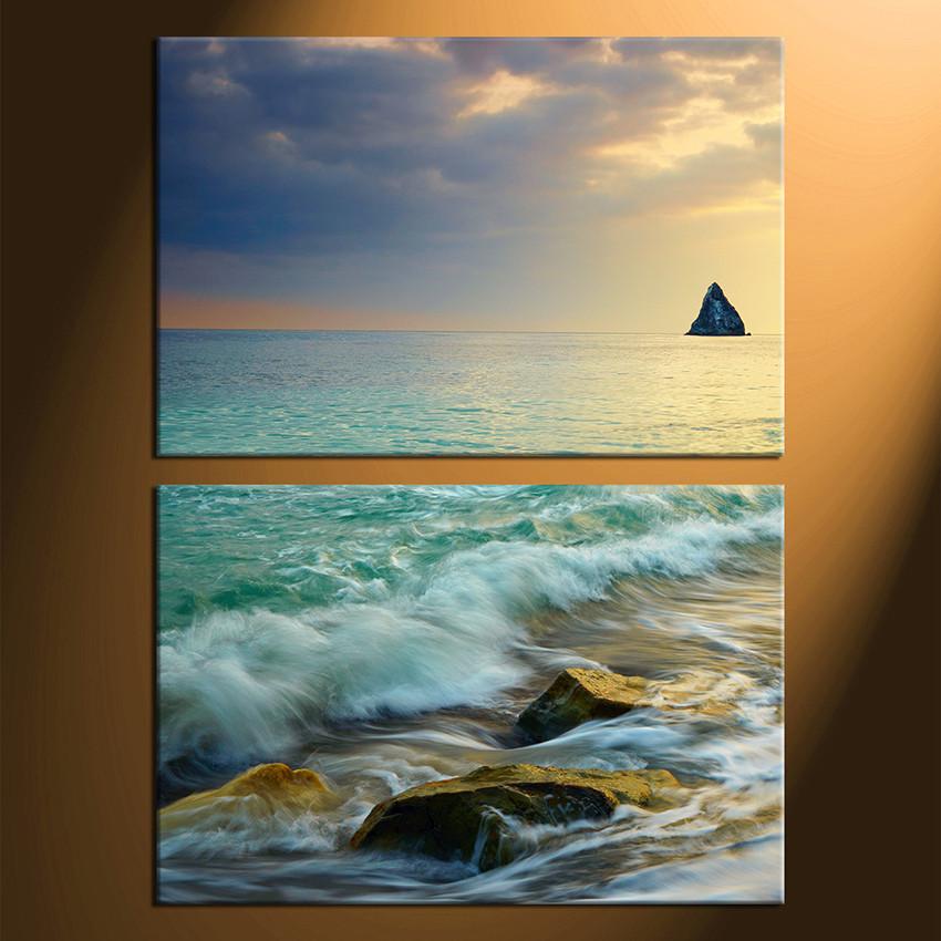 2 Piece Canvas Wall Art, Sea Decor, Ocean Canvas Photography, Ocean ...