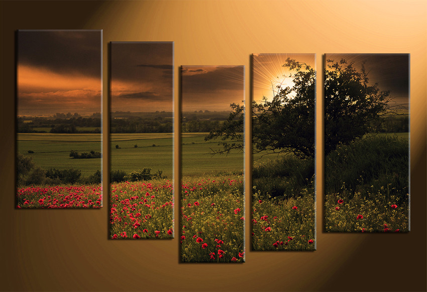 5 Piece Canvas Photography, Scenery Wall Decor, Floral Large ...