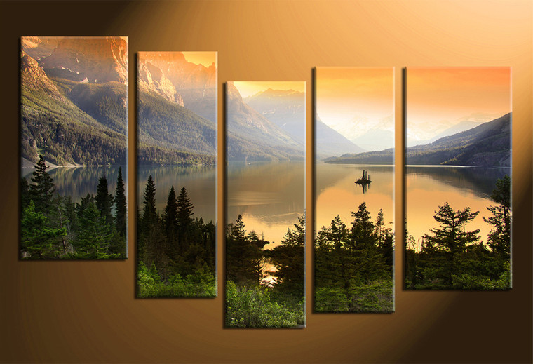 5 piece canvas wall decor green nature large pictures for 5 piece mural