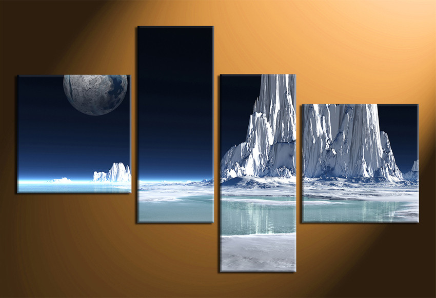 4 Piece Wall Art 4 piece canvas wall decor, snowy mountain multi panel art
