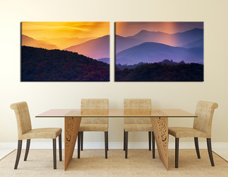 2 piece huge canvas print, dining room multi panel canvas, panoramic photo canvas, landscape wall decor, yellow canvas print, mountain canvas art prints
