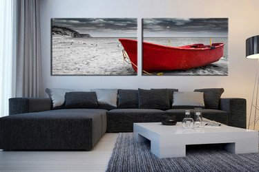 2 Piece Multi Panel Art, Living Room Group Canvas, Black And White Canvas  Print