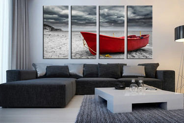 4 piece huge canvas print, living room group canvas, black and white canvas wall art, sea art, boat wall decor