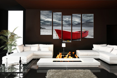 5 piece canvas print, living room large pictures, ocean wall decor, boat huge canvas art, black and white multi panel canvas