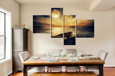 4 piece canvas wall art, dining room large pictures, yellow art, boat multi panel canvas, sea artwork