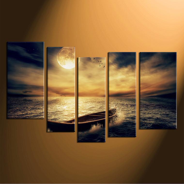 5 piece multi panel art yellow sea canvas wall art ocean. Black Bedroom Furniture Sets. Home Design Ideas