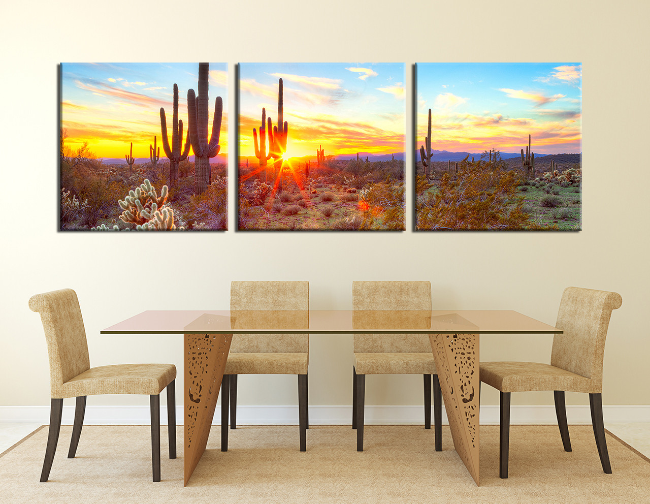 Piece Huge Pictures Saguaro Cactus Canvas Art Print Scenery