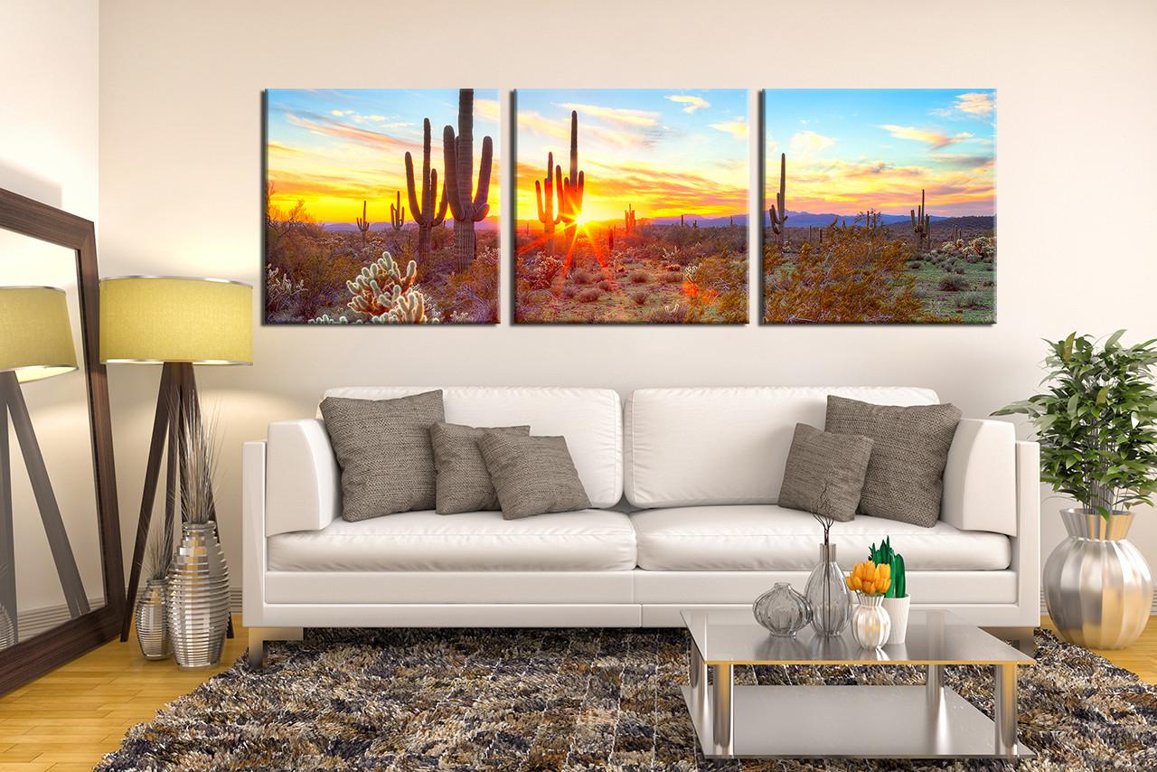 Nature Canvas Wall Art 3 piece huge pictures, saguaro cactus canvas art print, scenery