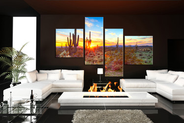 living room art, 4 piece canvas wall art, saguaro cactus multi panel canvas, scenery pictures, scenery huge canvas art