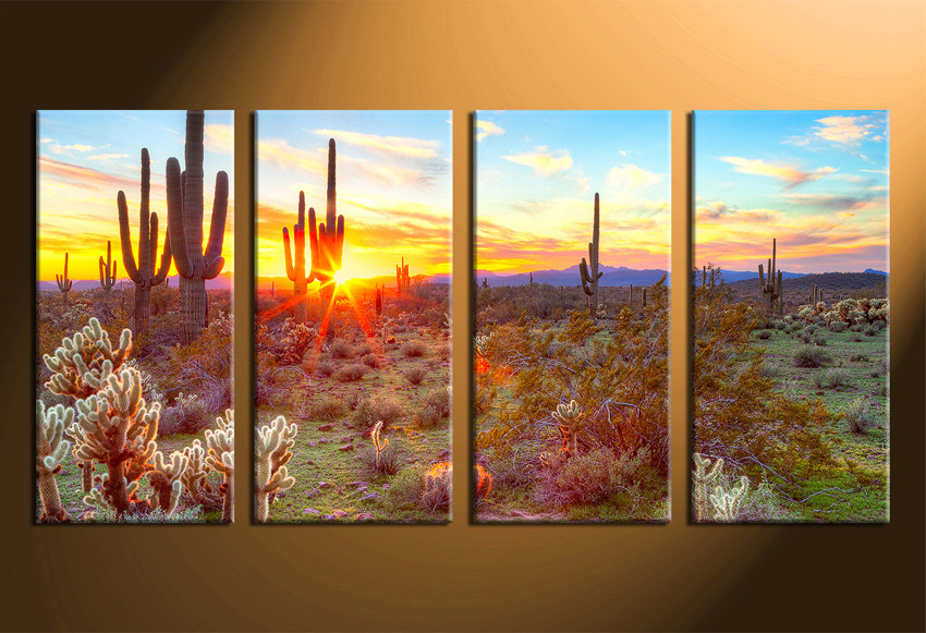 4 piece large canvas scenery huge pictures saguaro cactus artwork