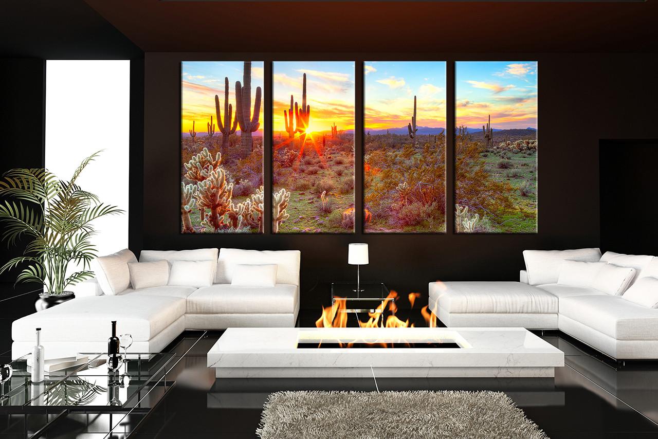 Large Living Room Art Part - 32: Living Room Art, 4 Piece Canvas Wall Art, Scenery Multi Panel Art, Saguaro