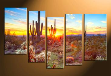home decor, 5 piece canvas art prints, scenery multi panel art, scenery large canvas, saguaro cactus art