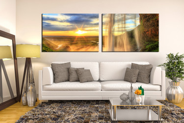 living room art, 2 piece canvas wall art, waterfall decor, landscape artwork, mountain panoramic large canvas