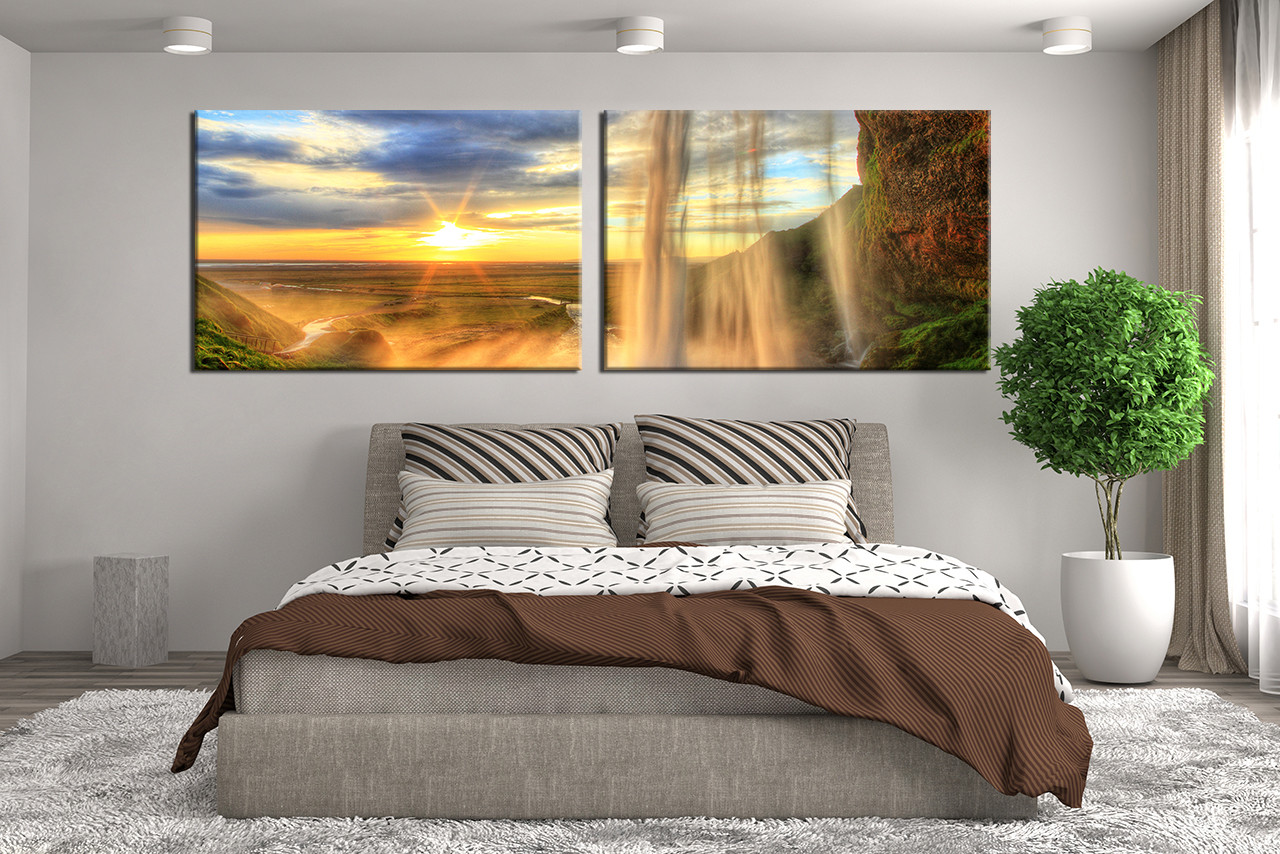 Waterfall Wall Decor Piece Waterfall Mountain Artwork Landscape Huge Pictures On Unframed Piece Woods And Waterfalls Modern Home Wall D