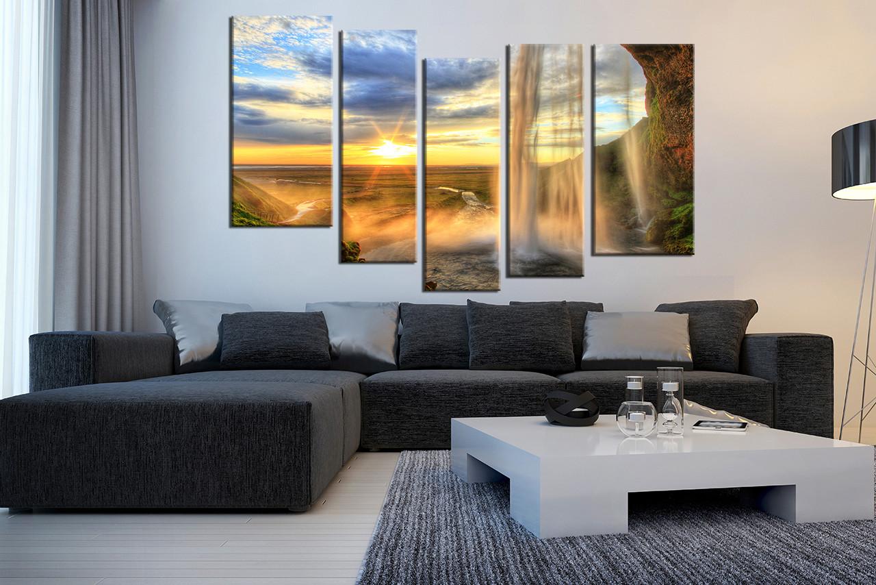 Waterfall Wall Art 5 piece wall art, mountain group canvas, landscape sunrise multi