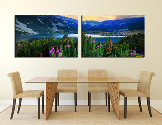 dining room art, 2 piece canvas art prints, blue mountain wall art, landscape artwork, flowers pictures