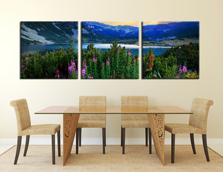 dining room art, 3 piece canvas art prints, blue mountain wall art, landscape artwork, landscape wall art