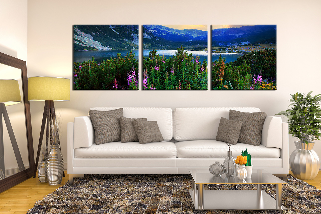 Multi Panel Canvas Wall Art 3 piece wall art, mountain canvas photography, blue landscape huge
