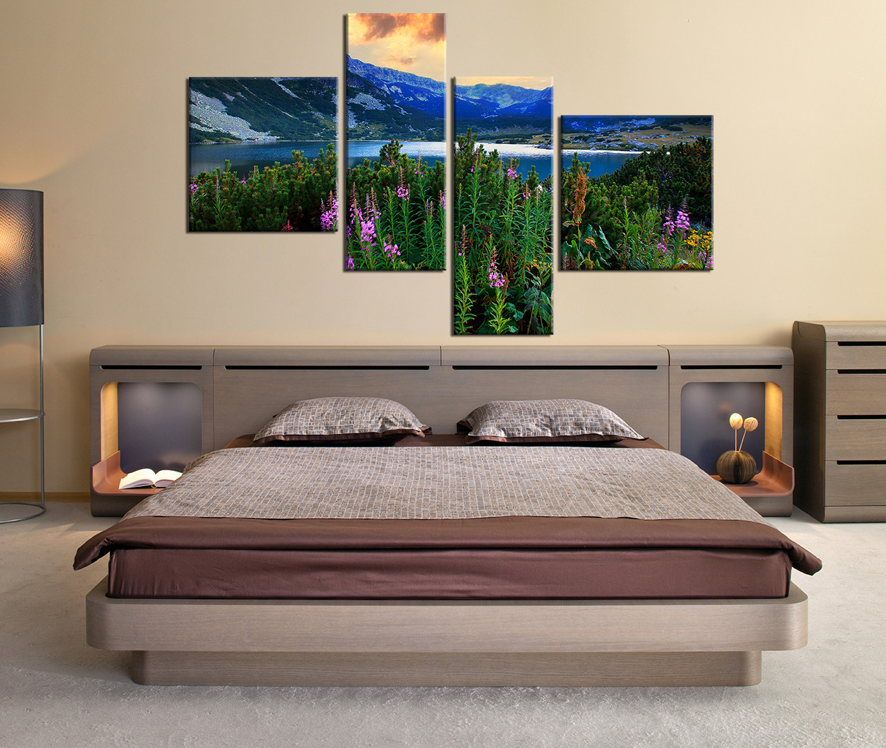 bedroom decor 4 piece wall art blue mountain pictures landscape art mountain - Multi Bedroom Decor
