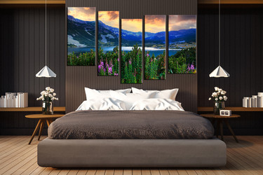 bedroom decor, 5 piece wall art, blue mountain pictures, landscape art, panoramic canvas group canvas