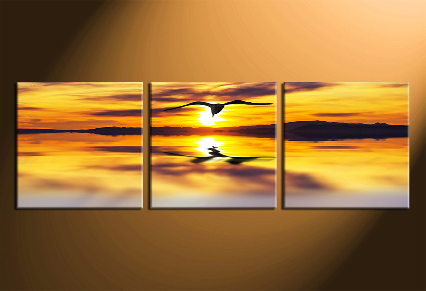 3 Piece Multi Panel Art, Panoramic Wildlife Large Canvas, Sunset ...