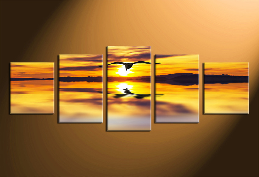 5 Piece Huge Pictures, Wildlife Photo Canvas, Yellow Cloudy Sunset ...