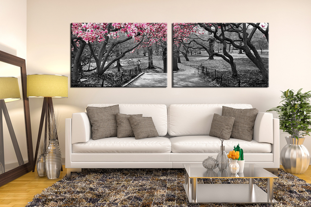 2 Piece Large Pictures Panoramic Canvas Wall Art Scenery Decor
