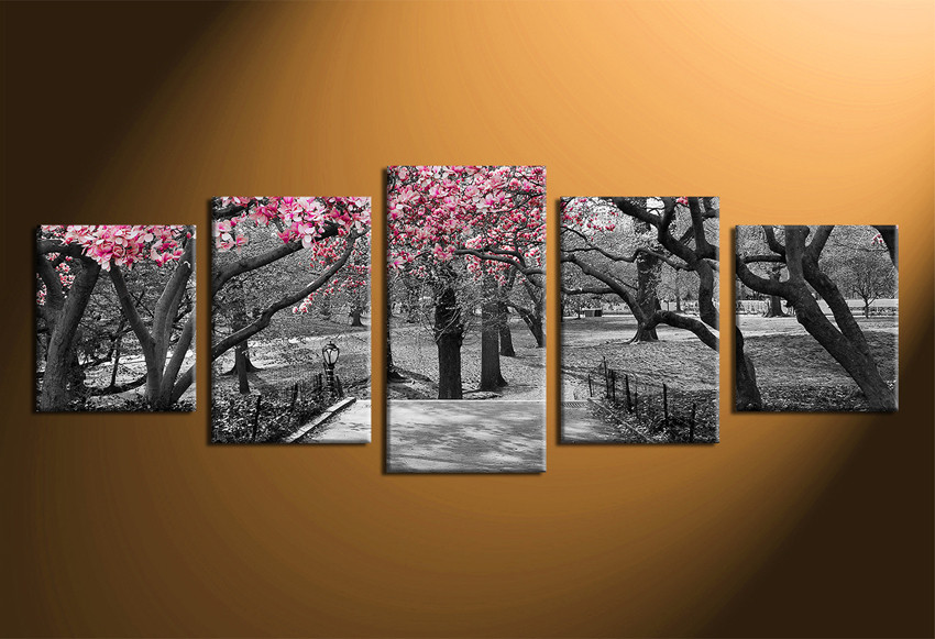5 Piece Group Canvas, Black And White Wall Decor, Trees Canvas Print, Home