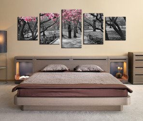 5 piece huge canvas art, black and white trees art, bedroom multi panel canvas, panoramic scenery large canvas