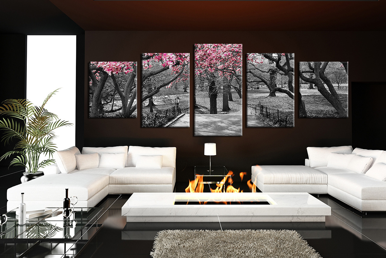 Black Wall Decor Prepossessing 5 Piece Multi Panel Canvas Grey Huge Pictures Autumn Trees Wall Design Inspiration