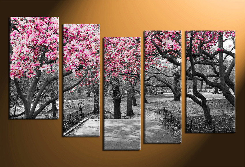 Tree Canvas Wall Art 5 piece multi panel art, grey large pictures, autumn trees wall