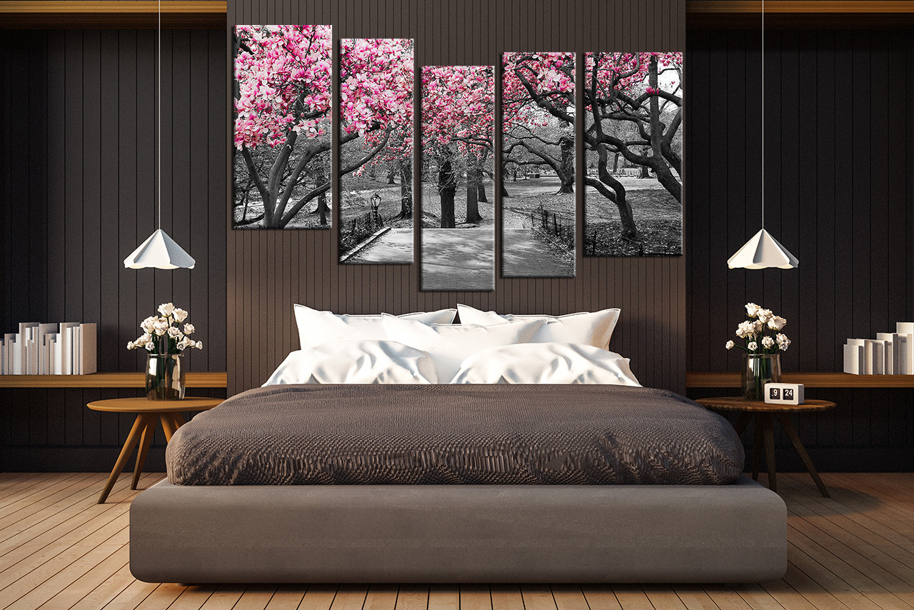 Grey And White Wall Art 5 piece multi panel art, grey large pictures, autumn trees wall