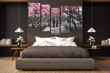 5 piece large pictures, bedroom huge canvas art, scenery photo canvas, black and white art, tree multi panel canvas, scenery large canvas