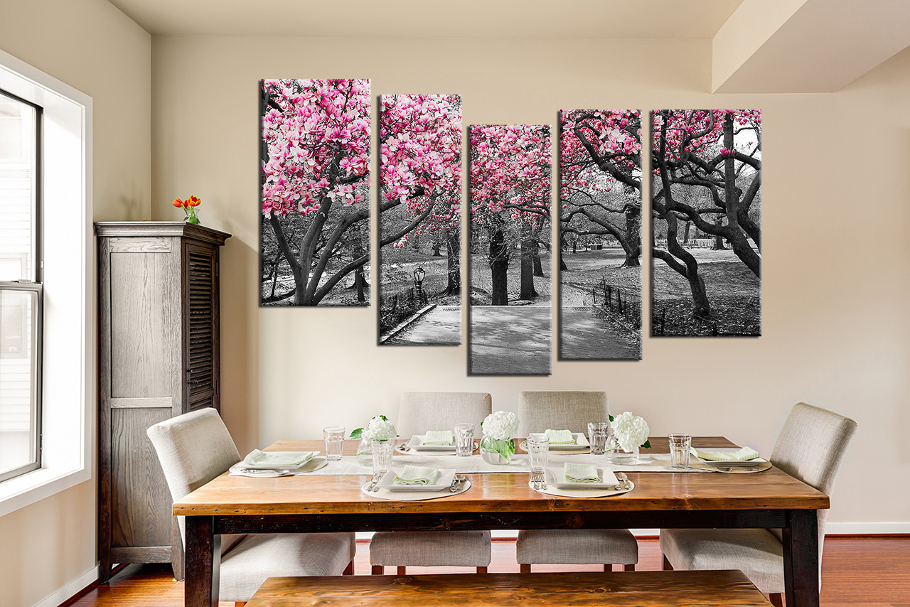 5 piece canvas art prints dining room wall decor scenery multi panel art & 5 Piece Multi Panel Art Grey Large Pictures Autumn Trees Wall Art ...