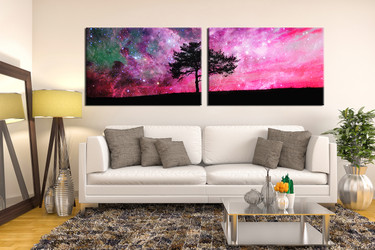2 piece multi panel art, stars purple canvas photography, living room huge canvas art, scenery large canvas