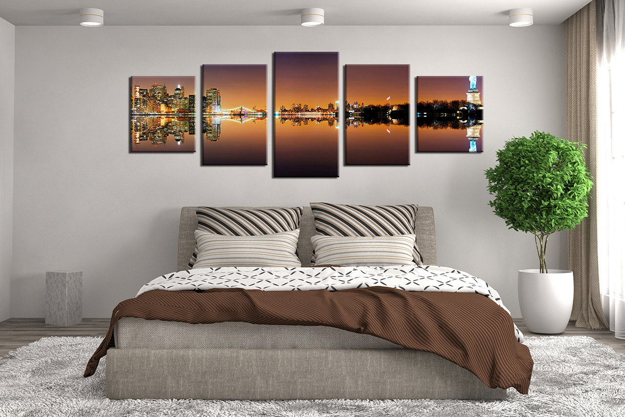 5 Piece Huge Canvas Art Bedroom Statue Of Liberty Large Pictures Brown