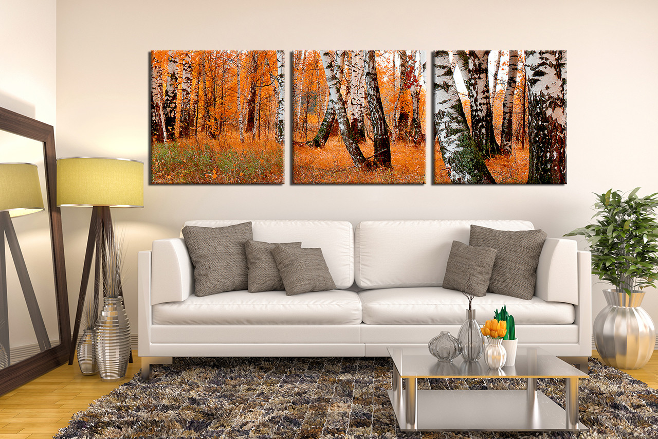 Scenery Huge Pictures Living Room Wall Art 3 Piece Decor Forest Multi