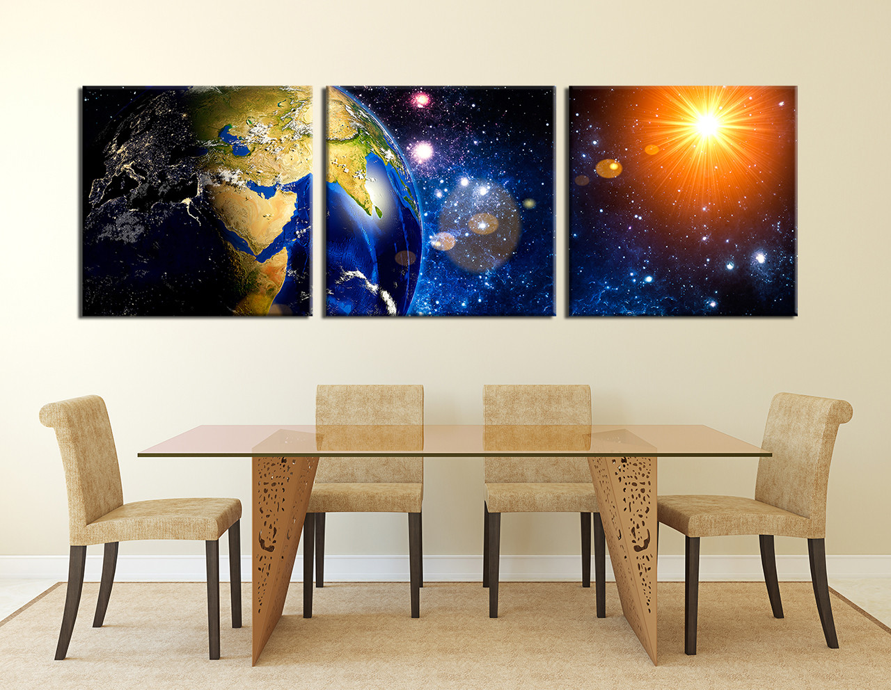 3 piece artwork space canvas wall decor stars multi. Black Bedroom Furniture Sets. Home Design Ideas