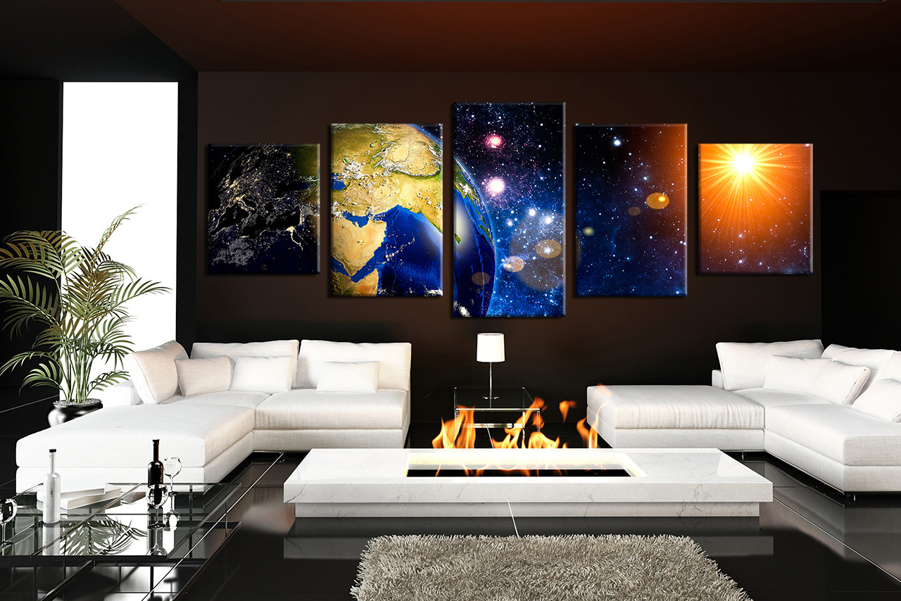piece group canvas stars canvas photography panoramic large  -  piece large pictures living room multi panel art purple modern photocanvas