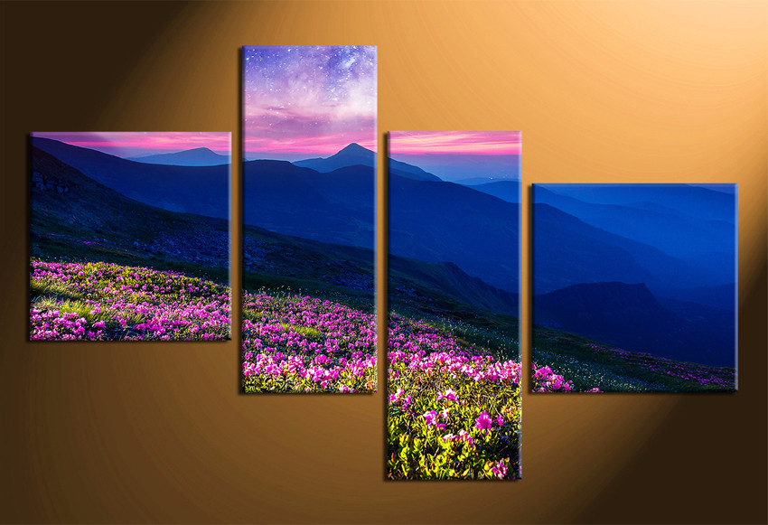 4 piece huge canvas art blue mountain multi panel canvas landscape