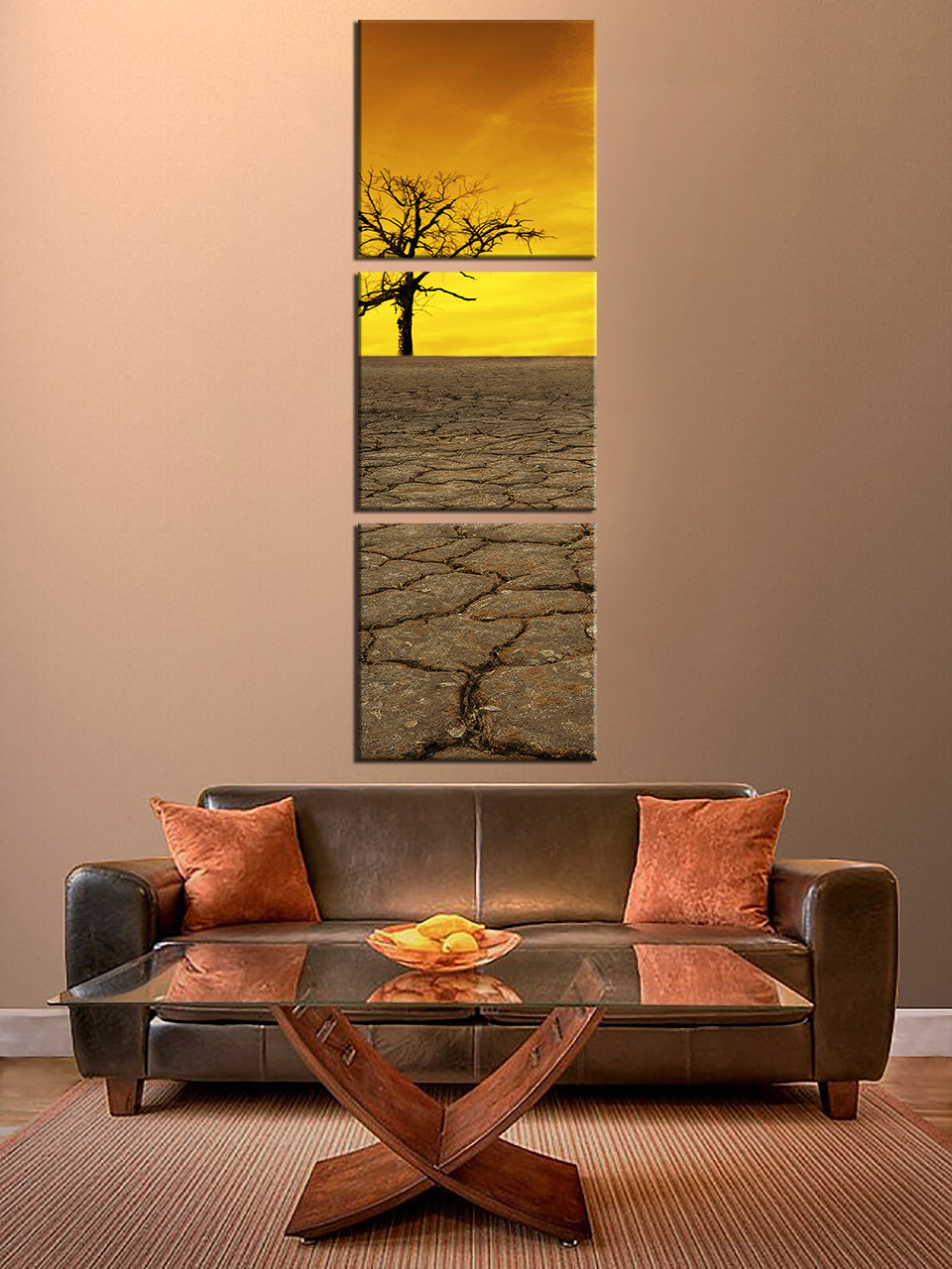 3 piece multi panel art yellow sky canvas photography scenery canvas wall decor nature photo. Black Bedroom Furniture Sets. Home Design Ideas