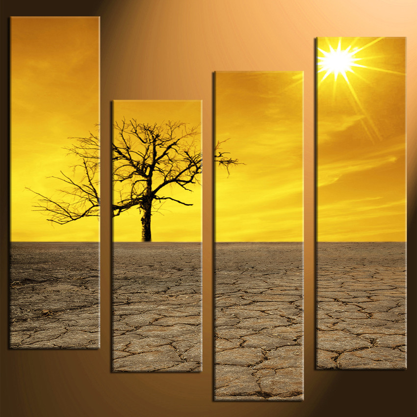 4 Piece Huge Pictures, Yellow Sky Wall Decor, Sunrise Canvas Print ...