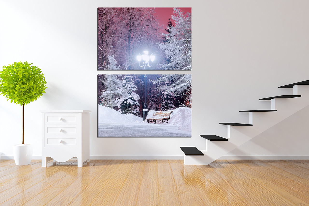2 Piece Canvas Wall Art 2 piece canvas wall art, snowy scenery large pictures, street lamp