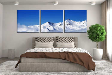 bedroom wall decor, 3 piece canvas wall art, landscape multi panel canvas, snow landscape canvas photography, panoramic mountain canvas art