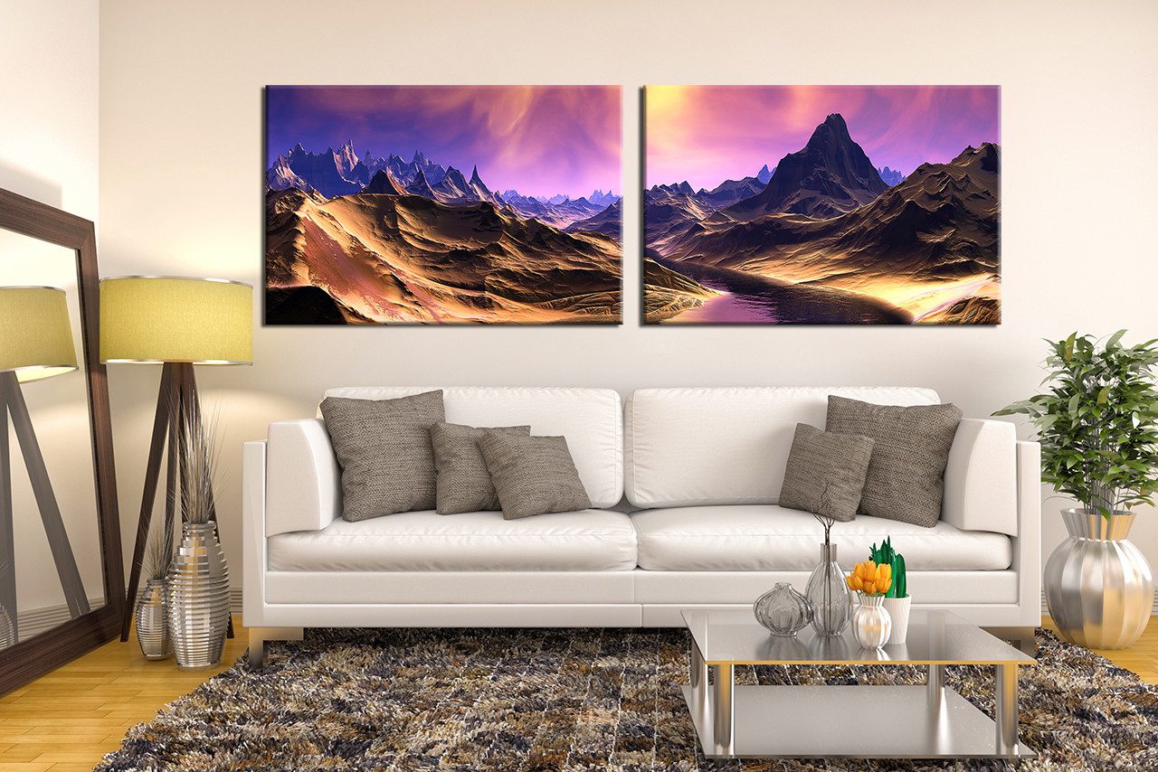 2 piece canvas photography  mountain large pictures Living Room Wall Decorating Ideas Canvas Art Brown Wall Color Living Room
