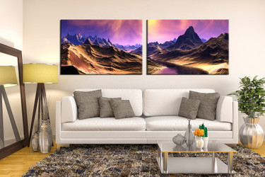 2 piece photo canvas, living room wall art, landscape decor, mountain canvas photography