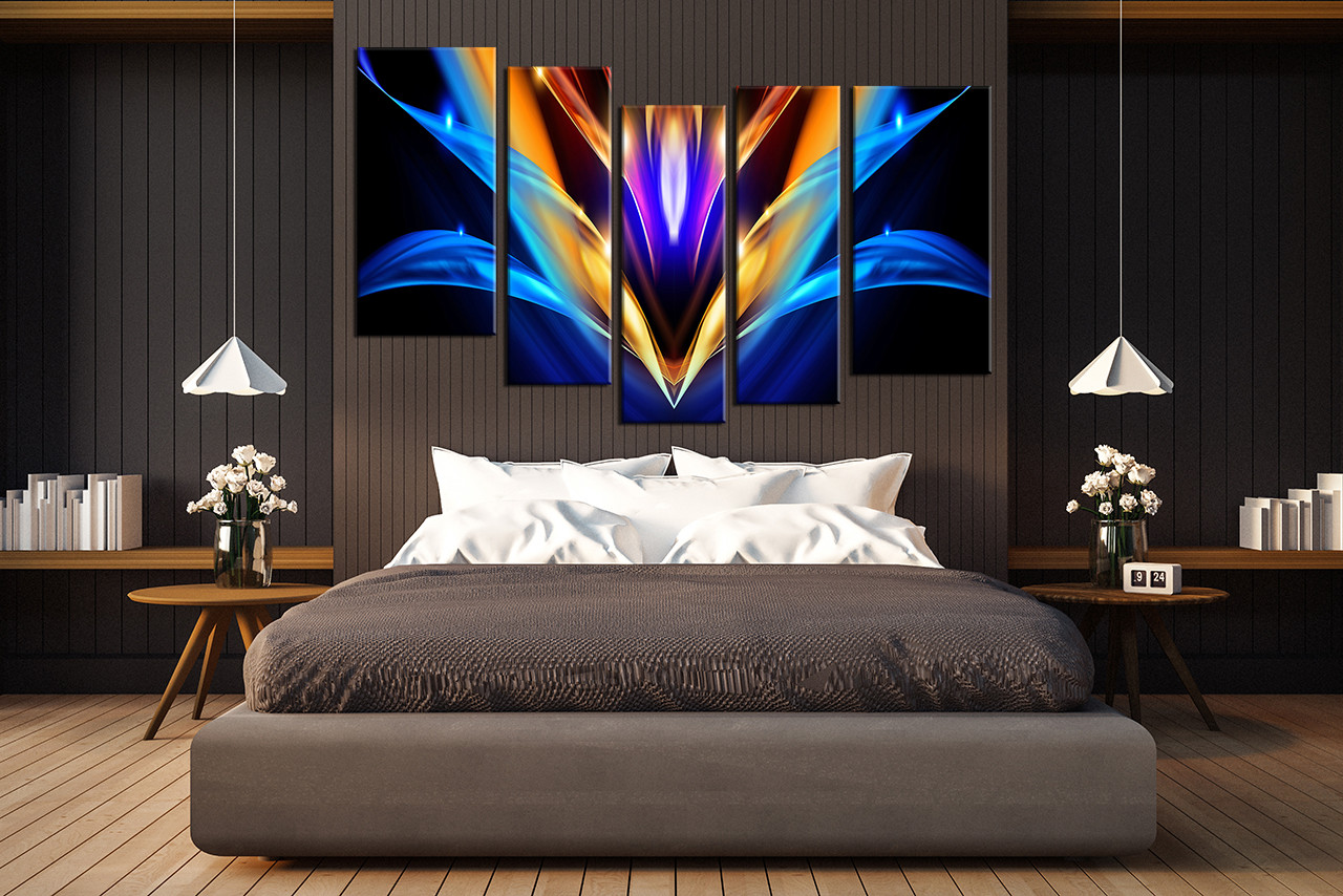 bedroom decor 5 piece wall art abstract pictures abstract art colorful abstract & 5 Piece Huge Canvas Print Colorful Abstract Multi Panel Art ...