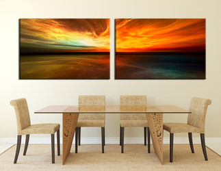 2 piece canvas wall art, dining room huge canvas print, orange canvas photography, panoramic wall decor