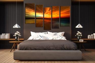 5 piece wall decor, bedroom multi panel canvas, orange canvas print, ocean group canvas, orange ocean artwork