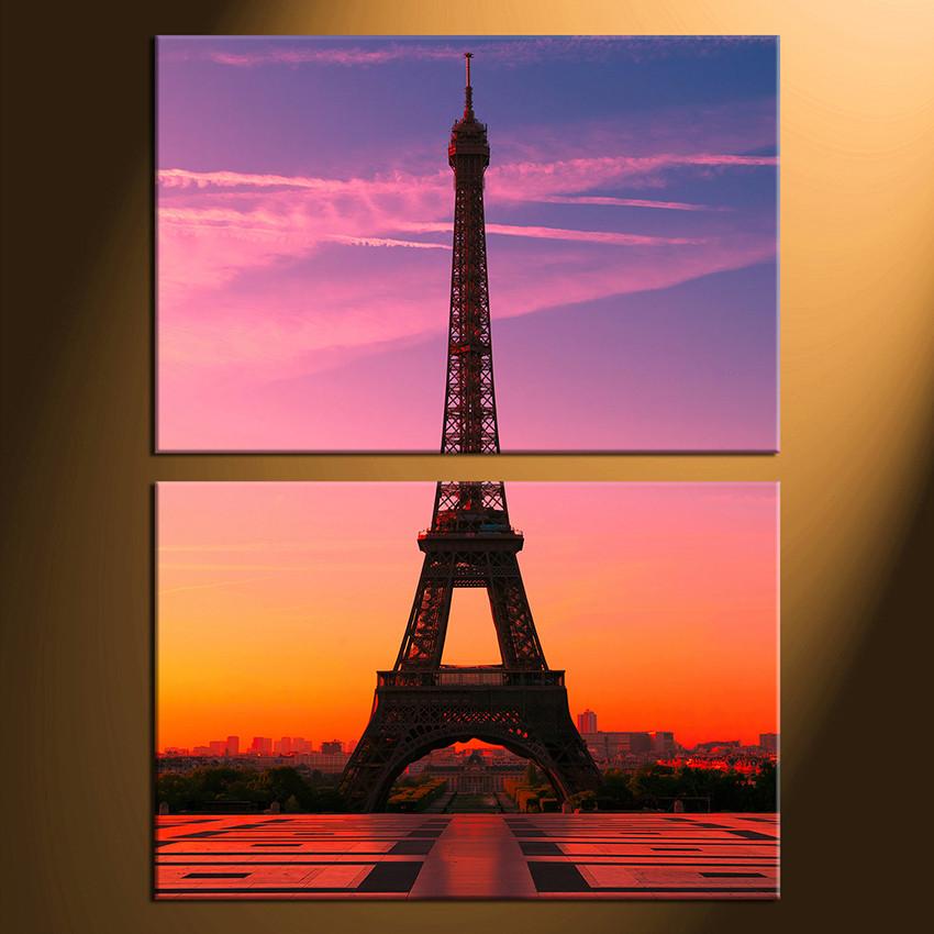 2 Piece Canvas Print Home Decor Eiffel Tower Group Canvas Purple Artwork